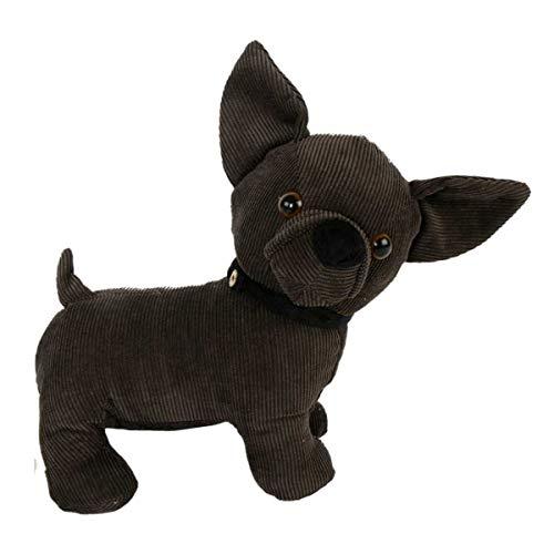 Objektkult Türstopper Hund Chihuahua, aus Cord in Dunkelbraun, 22 x 12 x 23 cm, 1000g schwer, Bezug 100% Polyester, Füllung 50% Sand und 50% Polyester, niedliches Geschenk für Hundeliebhaber -