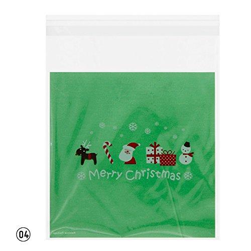 rungao 100Weihnachten Tasche Santa Claus Zellophan Geschenk Cookie Fudge Candy selbstklebende Tasche Color04# (Candy Taschen Lego)