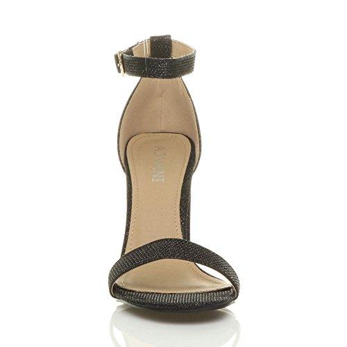 Damen Hochblockabsatz Riemchen Peep Toe Schuhe Knöchelriemen-Sandalen Größe Schwarz Glitzerstaub