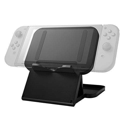 Nintendo Switch Stand by Sunix, tragbar, klappbar, Kompakthalter mit 3 verstellbaren Winkeln Perfekt für Nintendo Switch + HD Film Bildschirm Schutzfolie (schwarz) (Satz Von Drei Couchtische)