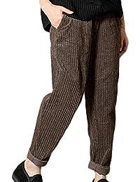 944210fa1cc5 Bingotrade Pantalon en Cachemire Femme épais Hiver Pantalon en Velours  côtelé Taille élastique décontracté Pantalon Chaud
