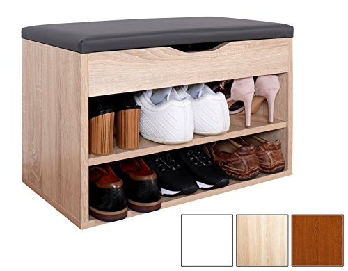 RICOO Schuhregal mit Sitzfläche Schuhschrank WM032-ES-A Schuhablage Schuhkommode Organizer Boden...