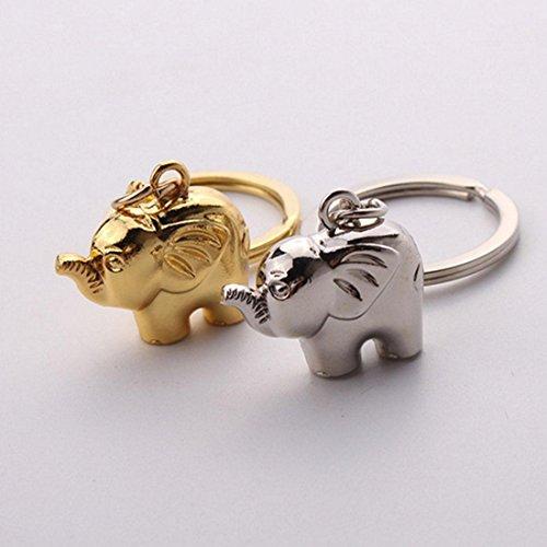 KOU 2pcs Creativo Lindo Compacto pequeño Elefante Metal Llavero Llave del Coche...