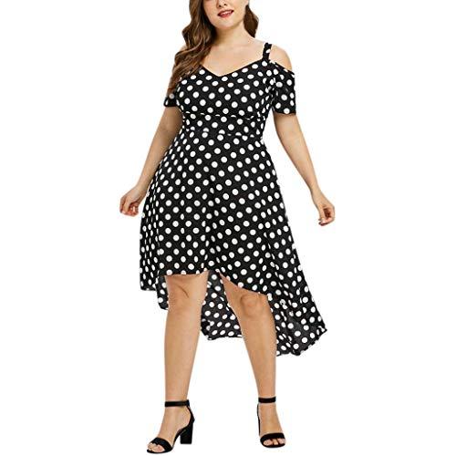 LOPILY Damen Sommerkleider Damen Lässige Unregelmäßiger Saum Strandkleid Minikleid mit Polka Dots Hoher Taille Off Shoulder Übergröße Partykleid Kleider(Schwarz,EU-50/CN-3XL)