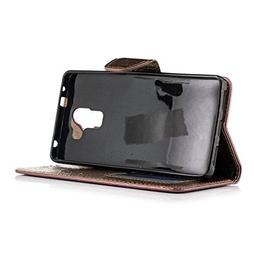 BONROY® Coque pour Huawei Honor 7,Housse en cuir pour Huawei Honor 7,imprimé étui en cuir PU Cuir Flip Magnétique Portefeuille Etui Housse de Protection Coque Étui Case Cover avec Stand Support Avec des Cartes de Crédit Slot et Fonction Support pour Huawei Honor 7