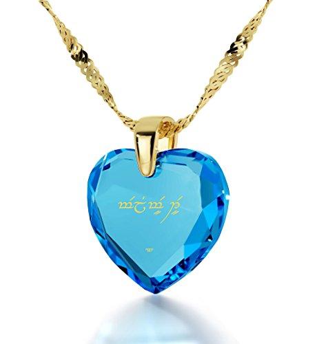 Pendentif Coeur - Bijoux Romantique Plaqué Or avec Je t'aime en langage Elfique inscrit en Or 24ct sur un Zircon Cubique en Forme de Coeur, Chaine en Or Laminé de 45cm - Bijoux Nano Bleu Lagon