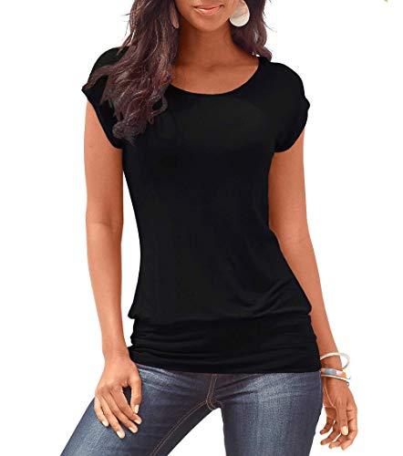 Stynice Damen T-Shirt Kurz Ärmel Bluse Stretch Oberteile Sommer Basic Tee Tops -