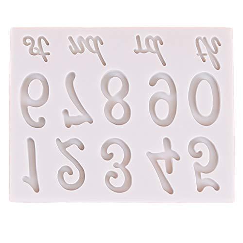 Weryffe Kreative Zahlen Silikonform Fondant Kuchen Form Dekorieren Tools Diy Gumpaste Küche Backformen (Grau)