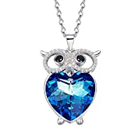 MXIN Guardian Wings Heart Crystal Necklace - Angel Wings Pendant Birthstone Heart Necklace Jewelry for Women Embellished with Crystals from Swarovski for Her Gift