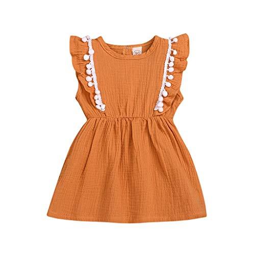 LEXUPE Kleinkind Kinder Baby Mädchen Sommer Kleidung Feste Pompon Party Prinzessin Tutu Kleid(Gelb,120)