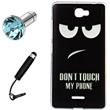 Lusee® Funda de silicona para Lenovo S856 5.5 Suave Cascara TPU Negro Don't touch my phone