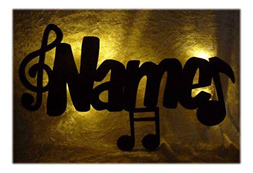 Schlummerlicht24 Led 3d Musik-Noten Deko-Lampe mit Name Geschenke Musiker Musikschule Mann Frau Junge Mädchen Wandtattoo