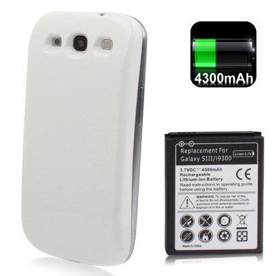 Batteria maggiorata per samsung galaxy s3 i9300 S3 Neo i9301 4300 mah più cover ricambio bianco + pannetto firmato Digital Bay