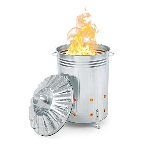 Waldbeck Rapidfire Feuertonne Brennofen Verbrennungstonne (90 L Volumen, Löcher im Boden und Seitenwand, Deckel mit Kaminaufsatz, Standfüße, verzinkter Stahlblech) silber -