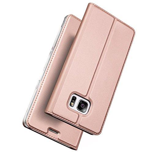 Verco Handyhülle für Galaxy S7, Premium Handy Flip Cover für Samsung Galaxy S7 Hülle [integr. Magnet] Book Case PU Leder Tasche, Rosegold