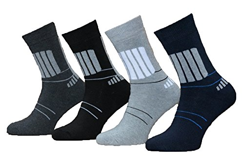12 Paar Herren Thermo Socken Baumwolle (Schwarz/Grau | 39-42)