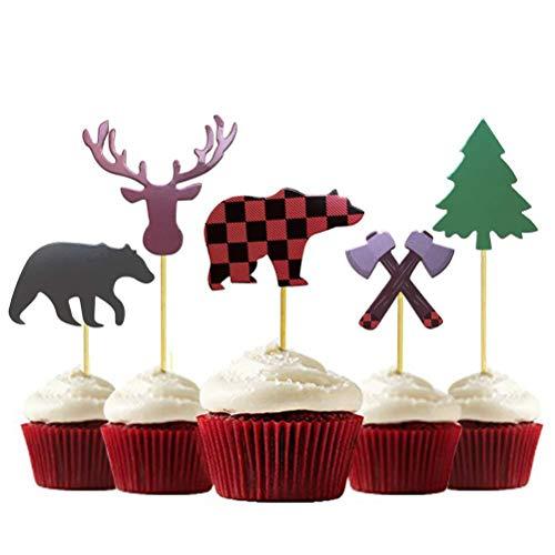 AMOSFUN Geburtstag Party Cake Topper Dekorationen Holzfäller Thema dekorative Kuchen Flagge Bär Axt Hirschkopf Kuchen eingelegte Karte für Kind Geburtstag Baby Dusche Hochzeit Party Dekoration