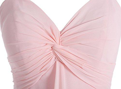Bbonlinedress Robe de demoiselle d'honneur bretelles spaghetti longueur ras du sol Rose