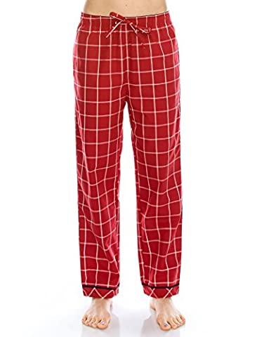 [FreeShipping]TINFL Women Soft 100% Cotton Flannel Pajama Lounge Sleep Pants PW-45-Red-L