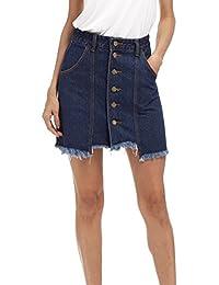 Blansdi Damen Sommer Jeansrock Button Through A-linie Skater Röcke Jeanskleid Basic Denim Skirt Jeansröcke Größe 34-48