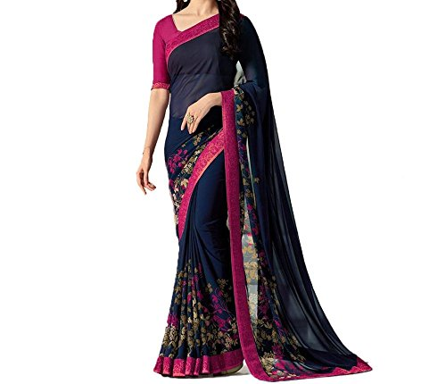 Calendar Women's Georgette Blue & Pink Color Saree With Unstitch Blouse Piece...