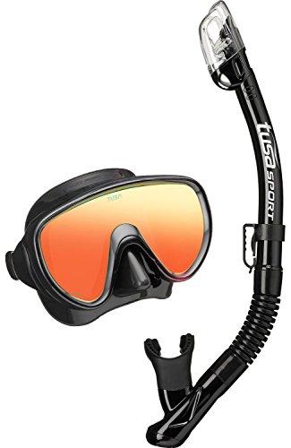 TUSA Sport Tusa Serene Mirror Lens - Schnorchelset tauchset Schnorchel taucherbrille schnorchelmaske erchwachsene (Mirror Lens Schwarz)