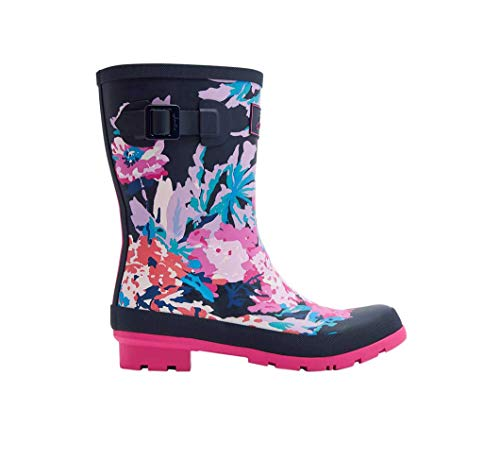 Joules Womens French Navy All Over Floral Molly Wellies-UK 6 / EU 39 -
