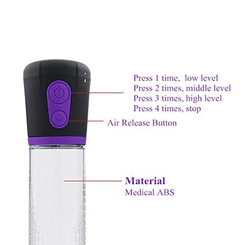 Alanan Elektrisch Automatische Penispumpen Vakuumpumpe LED USB Penis Pump,Vacuum Therapie mit Erektionspumpe,electric penis enlargers mit een extra Mouw - 3