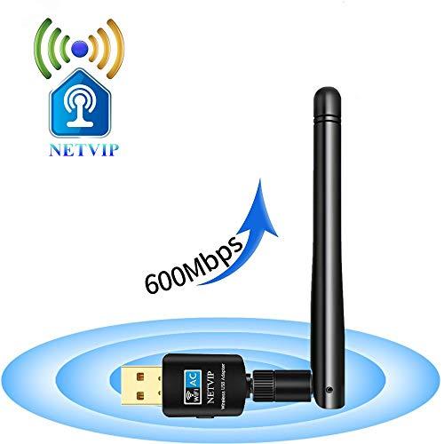 NETVIP WLAN Stick, Compact WiFi USB Adapter 600Mbit/s Dualband 5GHz/ 2,4GHz Wireless WLAN Extern Antenne 11AC Kebellos Netz Signal Laufwek für PC Geräte Kompatibel mit Windows 10/ Vista/Mac OS -