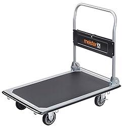 Meister Plattformwagen - Klappbar - Bis 300 kg Tragkraft - Feststellbremse / Transporthilfe mit Lenkrollen / Paketwagen mit Antirutsch-Beschichtung / Klappwagen aus Stahl / 8985540
