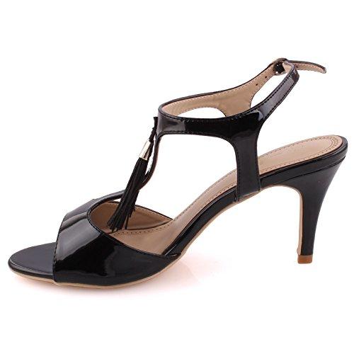 Unze Frauen 'Iris' Fringe Detail Mid Low High Heel Party Prom Zusammen Karneval Abend Sandalen Schuhe UK Größe 3-8 - 8T8555-56 Schwarz