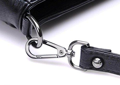 Frauen Leder Schultertasche Elegante Mode Schultertasche Messenger Bag Handtasche Damen Weiche Handtasche (schwarz) Blue