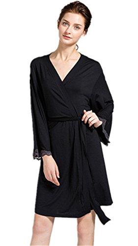 HAOKTY Damen Morgenmantel Langärmelige Modal Nachtwäsche Bademantel Robe Kimono Schlafanzug (L(44-46))