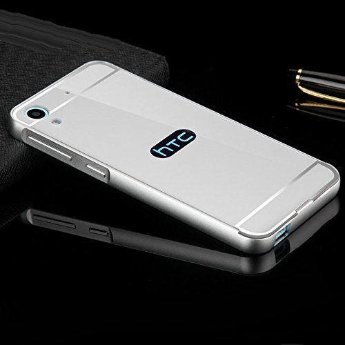 SDO™ Metal Bumper Frame Case with Acrylic Mirror Back Cover Case for HTC Desire 628 (Silver) + Micro USB Charging Cable