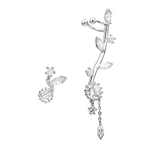 EAR VINES CZ Crystal Sun Flower Left Ear Cuffs Earrings Stud Set (Silver)