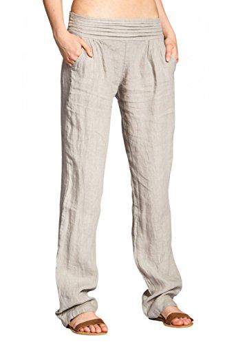 CASPAR KHS020 Damen Leinen Hose, Farbe:beige;Größe:46 3XL UK18 US16