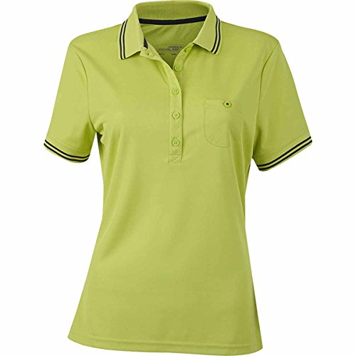 JAMES & NICHOLSON -  Polo  - Basic - Con bottoni  - Maniche corte  - Donna jaune acide et carbon