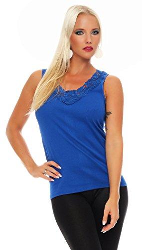 Hochwertiges Damen Träger-Top mit großer Spitze Nr. 416 (Oberteil / Unterhemd / Träger-Shirt) 100% Baumwolle Blau