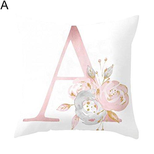 Goodtimes28Englisch Alphabet Floral Print Kissen Fall Taille Kissenbezug Hochzeit Bett Decor, Pfirsichhaut, 26, A -