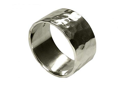 SILBERMOOS XL XXL Ringe in großen Größen Damen Herren Ring Bandring glänzend gehämmert handgeschmiedet Sterling Silber 925 Größen 62, 64, 66, 68, 70, 72, Größe:72 (22.9)