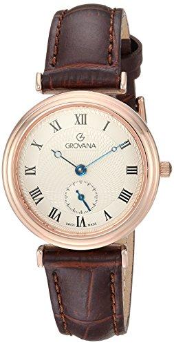 Grovana Women's Analog Swiss-Quartz Watch with Leather Calfskin Strap 3276-1568
