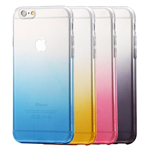 Wkae Case Cover HAWEEL für iPhone 6 & 6s Ultra Slim Gradient Farbe klar weicher TPU Fall ( Color : Pink ) Blue