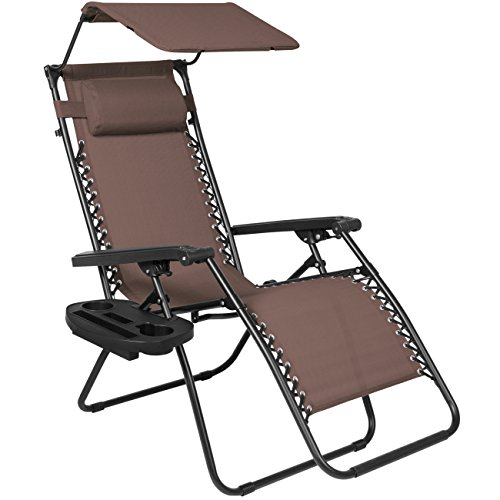 Brown : Best Choice Products Folding Zero Gravity Recliner Lounge Chair W/ Canopy Shade & Magazine Cup Holder-Brown