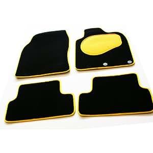 Tailored Custom Black Luxury Velour Carpet Interior Car Mats for Vauxhall Corsa D (2006 Onwards) - Bold Yellow Protection Heel Pad & Neat Ribb Edge Trim