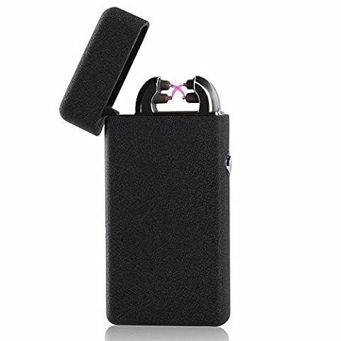 Double Arc USB Feuerzeug - [Anti-Slip] [winddicht] Frosted Tasche Ultra dünne Matt Elektronisches Lichtbogen Lighter, Elektro Feuerzeug , Zigarette Feuerzeug (Schwarz)