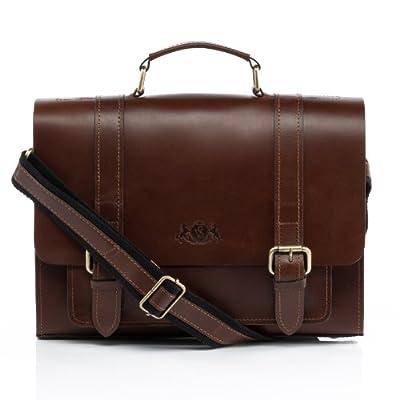SID & VAIN® serviette BRISTOL unisexe - petit mallette sacoche pour ordinateur, étui PC portable 11 pouces laptop iPad - sac de travail avec sangle homme et femme en cuir véritable