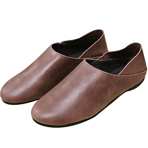 Vogstyle Femme slip-on cuir chaussures plates T004_Coffee