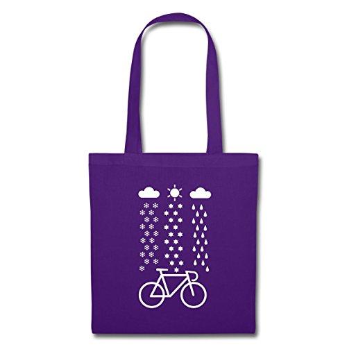 Spreadshirt Fahrrad Schnee Regen Sonne Rennrad Stoffbeutel Lila
