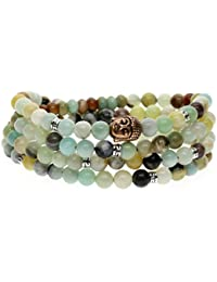 Bracelet/Collier Mala 108 Perles Bouddhistes Pierres Naturelles 6mm Amazonite Multicolore Cordon Élastique Unisexe
