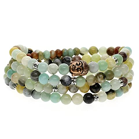 Bracelet/Collier Mala 108 Perles Bouddhistes Pierres Naturelles 6mm Amazonite Multicolore